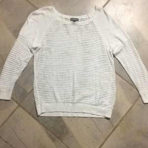 Express | White Open Knit Sweater